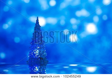Shinny Glass Christmas Tree, abstract snow dark blue background