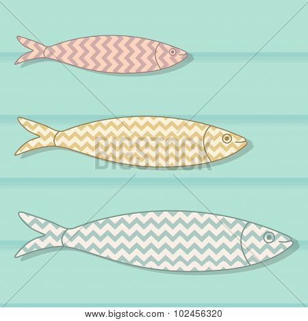 Traditional Portuguese Icon. Colored Sardines With Geometric Chevron Patterns On Wooden Background.