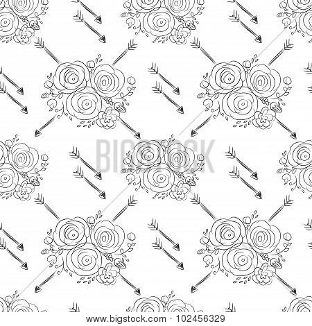 Hand Drawn Delicate Decorative Vintage Seamless Pattern With Blossom Flowers And Arrows. Vector Illu