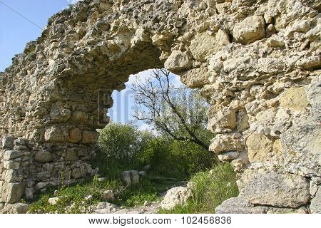 Remains Of Ancient Arch Bridge. Stone Bridge In The Crimea. Ancient State