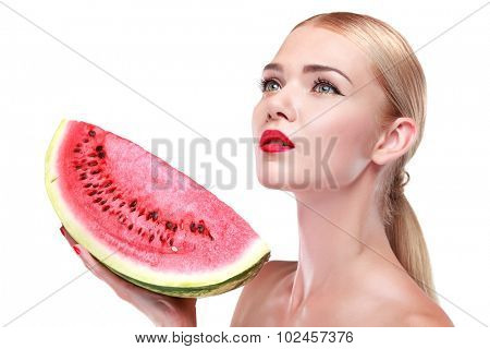 Portrait of young white-headed girl with fruit isolated on a white background