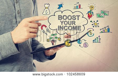 Boost Your Income Concept With Tablet Computer