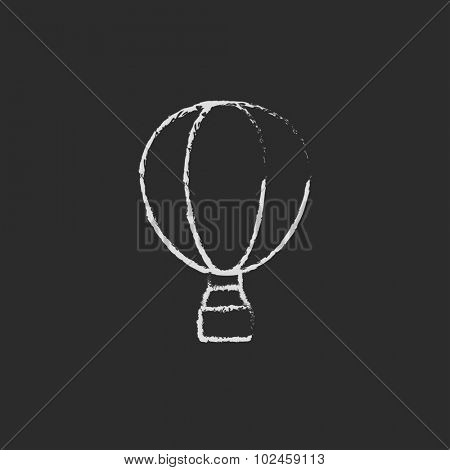 Hot air hand drawn in chalk on a blackboard vector white icon isolated on a black background.