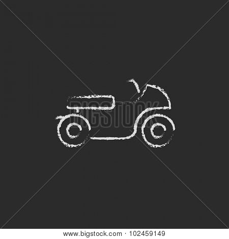 Motorcycle hand drawn in chalk on a blackboard vector white icon isolated on a black background.