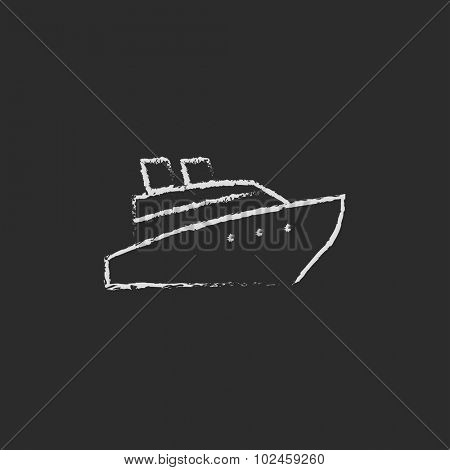 Cruise ship hand drawn in chalk on a blackboard vector white icon isolated on a black background.