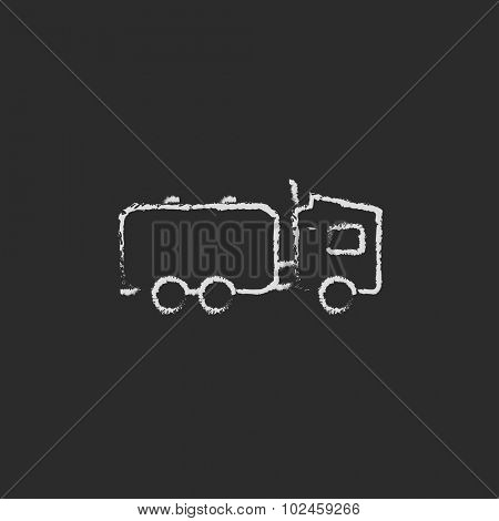 Truck liquid cargo hand drawn in chalk on a blackboard vector white icon isolated on a black background.