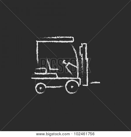 Forklift sketch icon hand drawn in chalk on a blackboard vector white icon isolated on a black background.