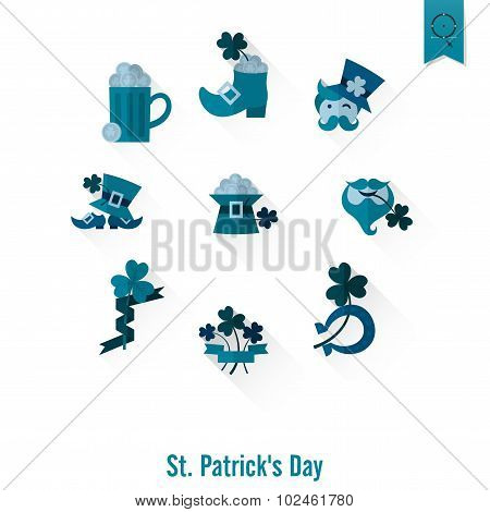 Saint Patricks Day Isolated Icon Set