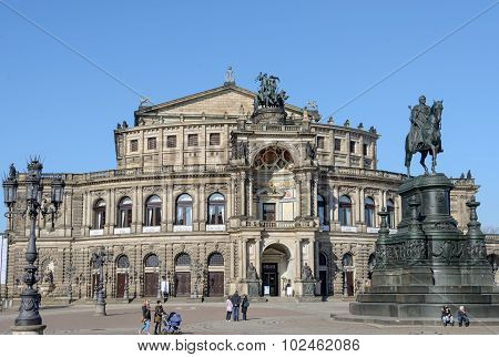 Main Front Of Semperoper And King Johann Monument, Dresden, Germany.