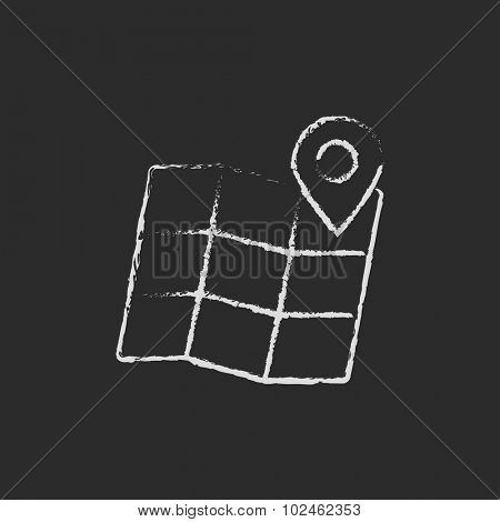 Map with pointer hand drawn in chalk on a blackboard vector white icon isolated on a black background.
