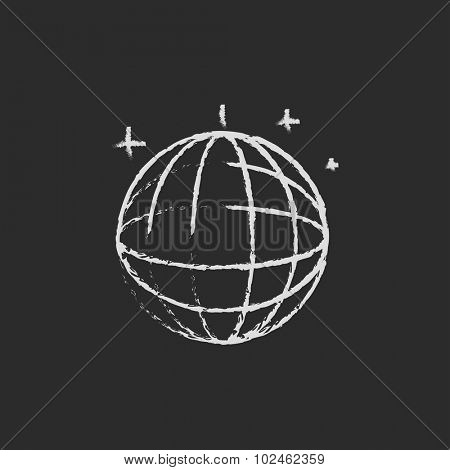 Disco ball hand drawn in chalk on a blackboard vector white icon isolated on a black background.