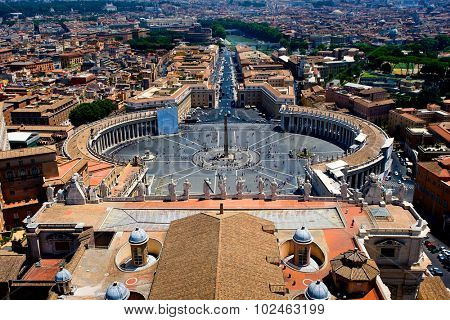 July 11. 2012. - St Peter's Basilica, Rome, Italy. View of St.Peter Square from roof of St.Peter Basilica