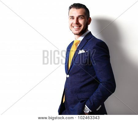 Portrait Of Happy Smiling Young Businessman, Isolated On White B