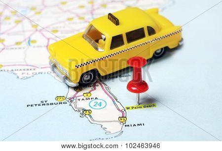 Palm Beach  Usa Map Taxi