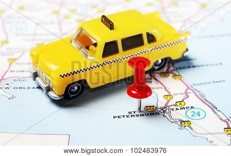 St. Petersburg  Usa Florida  Map Taxi