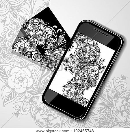 Mobile Mobile telephone with visit card black white doodle flowers