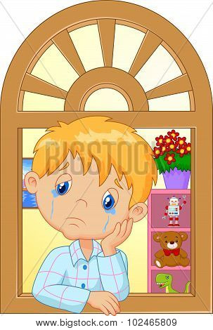 Cartoon little boy cry and watching out the window