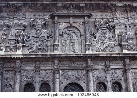 nice sculptures on the front of building in Lviv