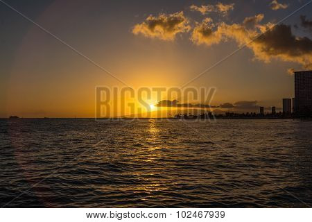 Sunset in Waikiki, Ohau, Hawaii