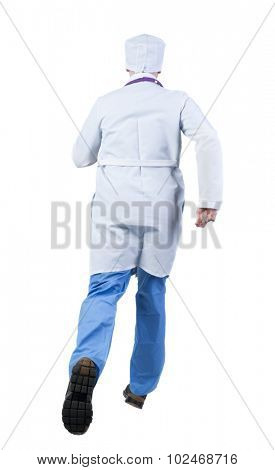 Back view of running doctor in a robe hurrying to help the patient. Walking guy in motion. Rear view people collection. Backside view of person. Isolated over white background.