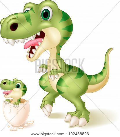 Mother and baby dinosaur hatching. vector illustration
