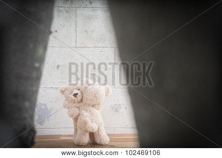 Teddybears hugging, selective focus