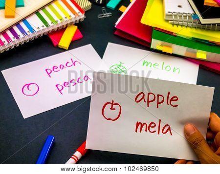 Learning New Language Making Original Flash Cards; Italian