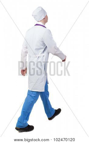 Back view of walking doctor in robe hurrying to help the patient. Walking guy in motion. Rear view people collection. Backside view of person. Isolated over white background. nurse rushes for surgery