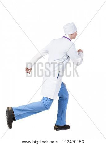 Back view running doctor in a robe hurrying to help the patient. Walking guy in motion. Rear view people collection. Backside view of person. Isolated over white background. nurse rushes for surgery