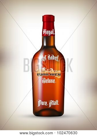 Whiskey bottle with Labels Set. Modern Gothic Style Font. Kinds of whiskey