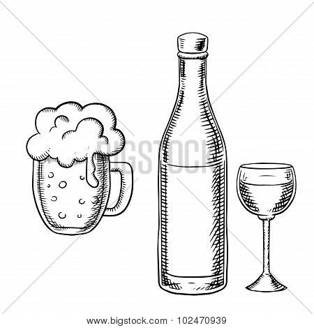 Wine glass, bottle and beer tankard