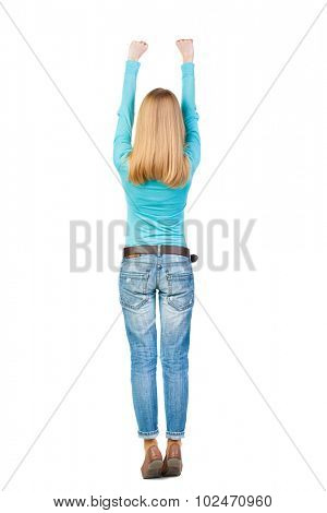 Back view of  woman.  Raised his fist up in victory sign.  Rear view people collection.  backside view of person.  Isolated over white background. she pulled up with two hands.