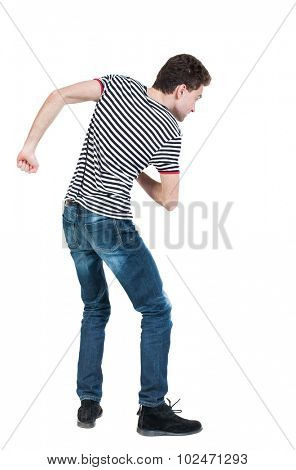 back view skinny guy funny fights waving his arms and legs. Isolated over white background. Rear view people collection.  backside view person. Funny guy clumsily boxing.