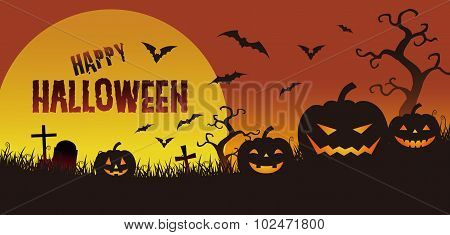 Halloween Illustration, Jack O Lantern In The Twilight