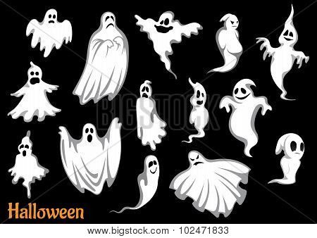 Eerie flying Halloween ghosts and monsters