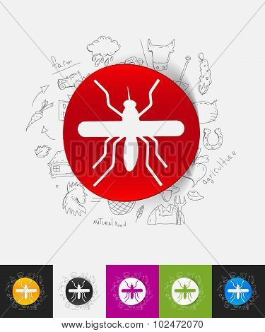 mosquito paper sticker with hand drawn elements
