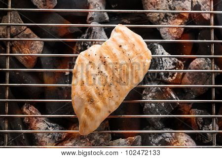 Grilled Chicken Breast On The Flaming Grill