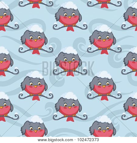 Bullfinch vector seamless pattern. Winter background