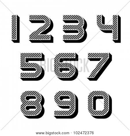 vector 3D black striped numbers font