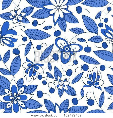 Blueberry seamless pattern with floral elements