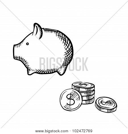 Piggy bank and coins stack sketch