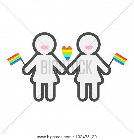 Gay Marriage Pride Symbol Two Contour Women With Lips And  Flags Lgbt Icon Rainbow Heart Flat Design