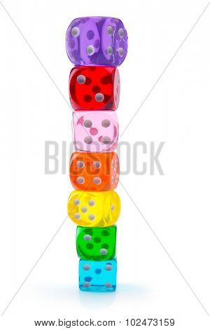 Colorful dice stacked up, isolated on white. Seven transparent acrylic dice in rainbow color stacked up. Shallow depth of field.