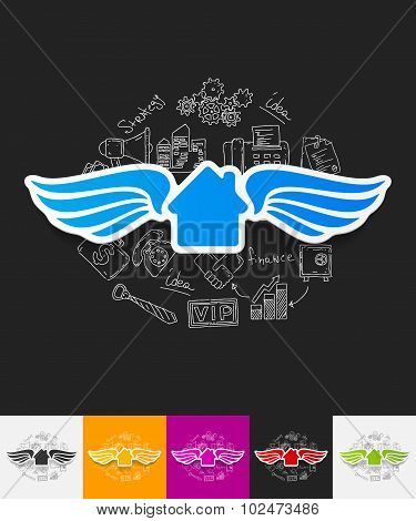 house paper sticker with hand drawn elements