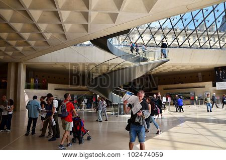 Paris, France - May 13, 2015: Tourists Visit Interior Of Louvre Museum
