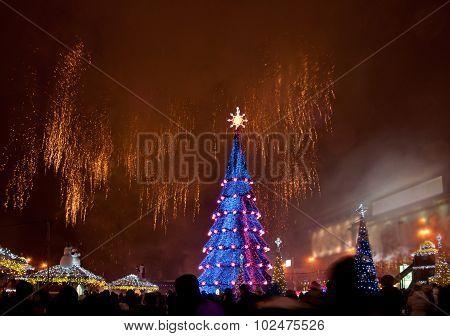 Christmas Tree And Fireworks
