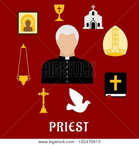 Priest and religious flat icons or symbols