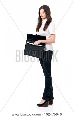 Business woman or teacher with briefcase, isolated white background