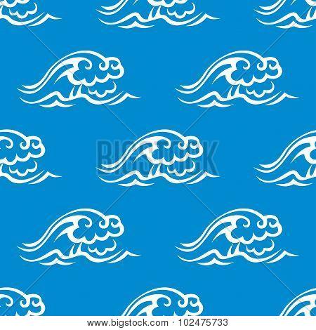 Stormy ocean waves seamless pattern