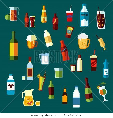 Beverages, cocktails and drinks flat icons